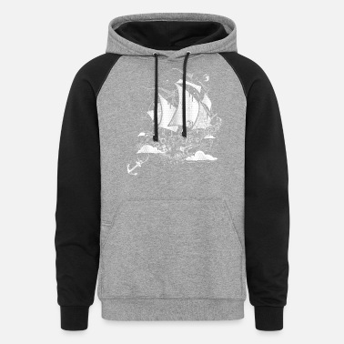 Above The Clouds A sailing ship above the clouds - Unisex Colorblock Hoodie