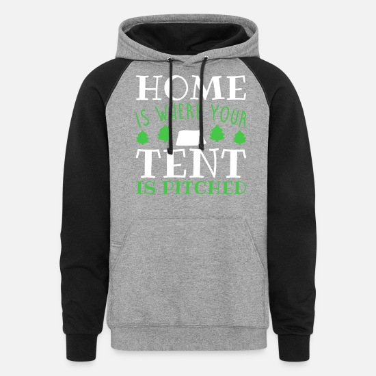 Tent Hoodies & Sweatshirts - Home is Where Your Tent is Pitched - Unisex Colorblock Hoodie heather gray/black
