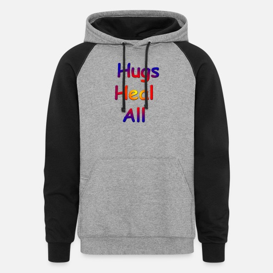 Healing Hoodies & Sweatshirts - Hugs heal all - Unisex Colorblock Hoodie heather gray/black
