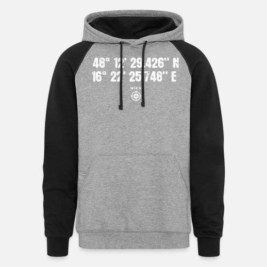 Latitude Hoodies & Sweatshirts - Geocacher Wien Vienna GPS gift Europe - Unisex Colorblock Hoodie heather gray/black