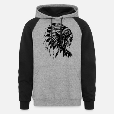 American Indian Headdress Skull Native American Feathers Indian Tr - Unisex Colorblock Hoodie