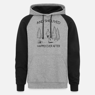 After And She Lived Happily Ever After Running - Unisex Colorblock Hoodie