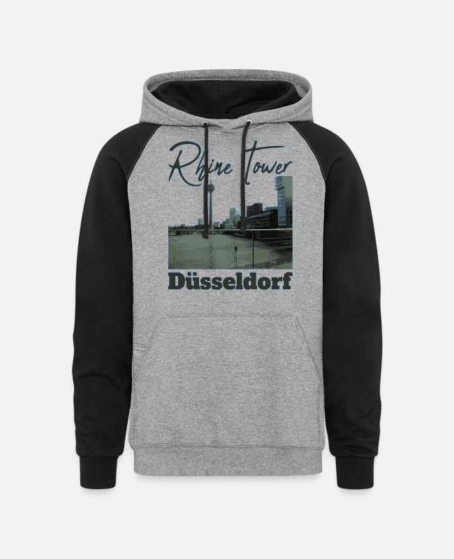 I Love Hoodies & Sweatshirts - Düsseldorf,Germany - Unisex Colorblock Hoodie heather gray/black