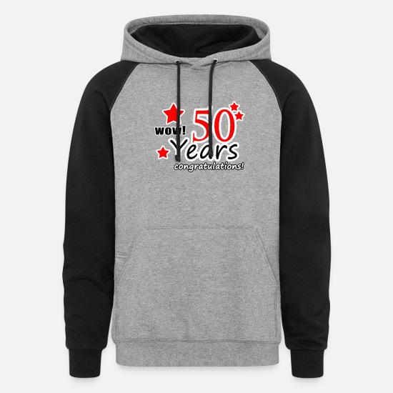 Anniversary Hoodies & Sweatshirts - 50 years anniversary - Unisex Colorblock Hoodie heather gray/black