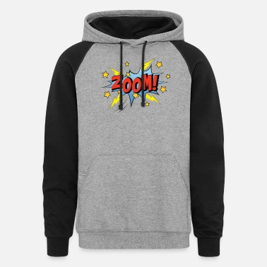 Zoom Zoom Comic Cartoon Comicstyle Retro speech bubble - Unisex Colorblock Hoodie