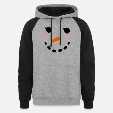 Winter Snowman Winter Snow - Christmas Girl - Unisex Colorblock Hoodie