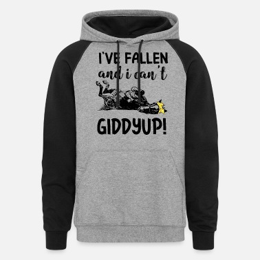 I have fallen and I can not giddyup cow - Unisex Colorblock Hoodie