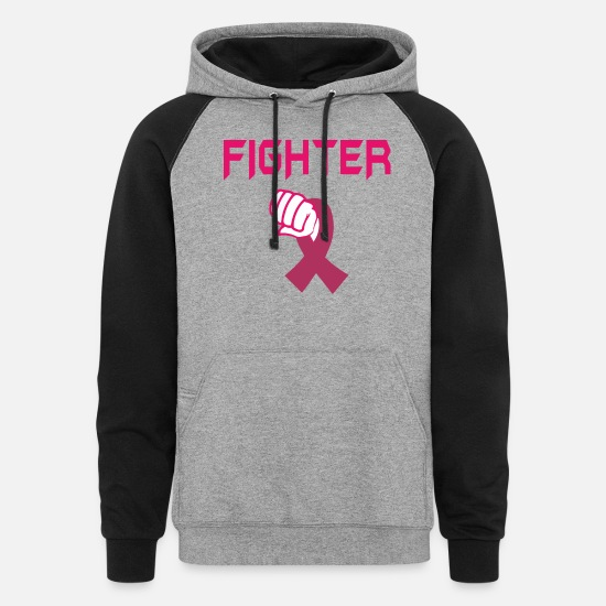 Breast Hoodies & Sweatshirts - Fight Breast Cancer - Breast Cancer Month - Unisex Colorblock Hoodie heather gray/black