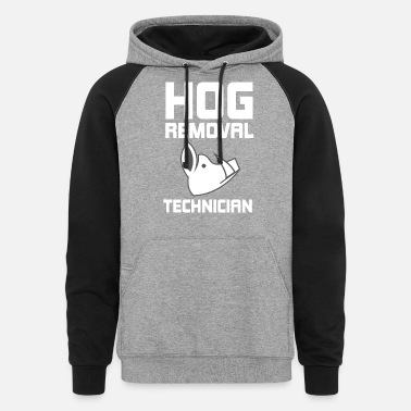 Hutning Hog Removal Technician Hunting Boar Pig - Unisex Colorblock Hoodie