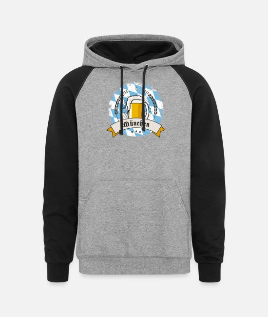 Munich Hoodies & Sweatshirts - munich german beer party bavaria flag tent drink l - Unisex Colorblock Hoodie heather gray/black