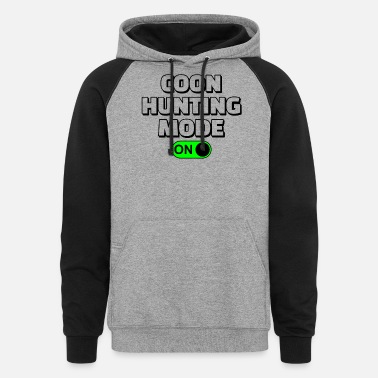 Customized Hunting Mode On Vinatage Raccoon Hunting Gear - Unisex Colorblock Hoodie