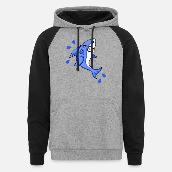 Under Water Hoodies & Sweatshirts - Shark cartoon sharks predator fishes - Unisex Colorblock Hoodie heather gray/black