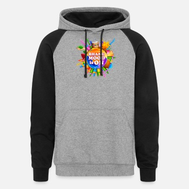 Bhang BHANG MOOD IS ON Funny Holi Tshirt - Unisex Colorblock Hoodie