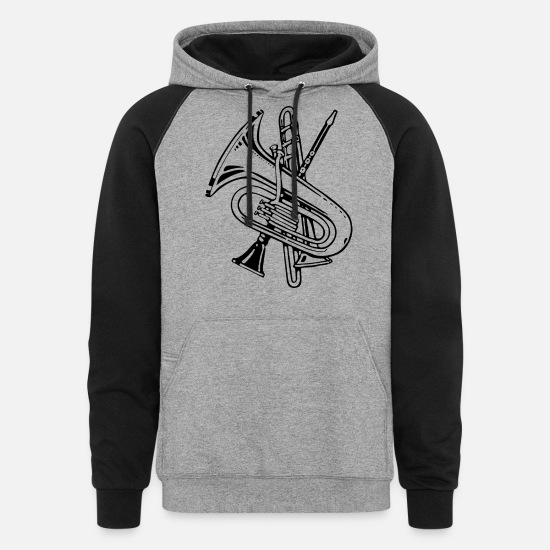Song Hoodies & Sweatshirts - Wind Instruments Improved - Unisex Colorblock Hoodie heather gray/black