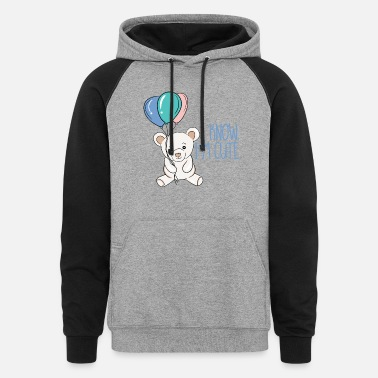 I know I'm cute, baby bear with balloons. - Unisex Colorblock Hoodie
