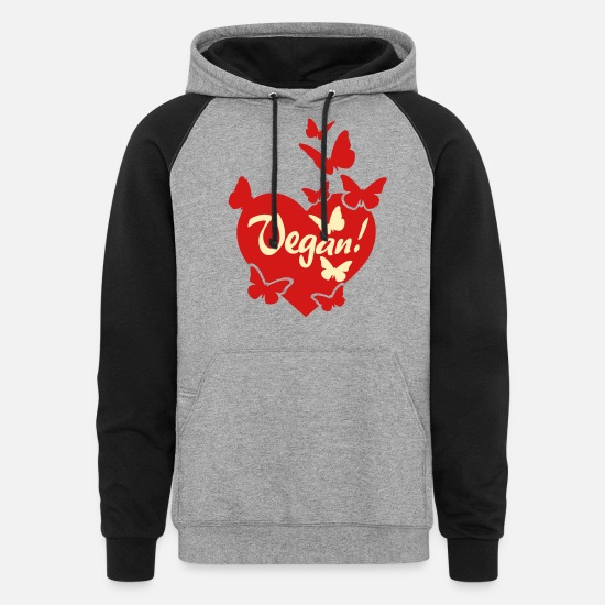 Vegan Hoodies & Sweatshirts - VEGAN LOVE HEART - Unisex Colorblock Hoodie heather gray/black