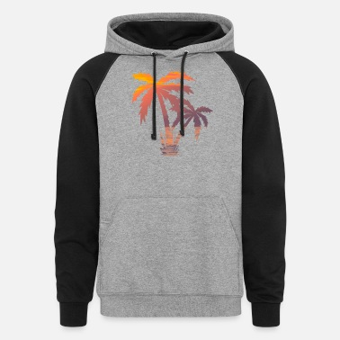 Palm Trees California Palm Tree Sunset - Unisex Colorblock Hoodie