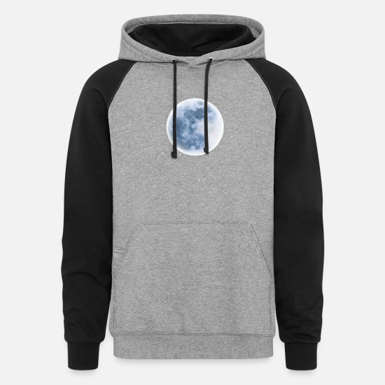 Dark Hoodies & Sweatshirts - Full Blue Moon - Unisex Colorblock Hoodie heather gray/black