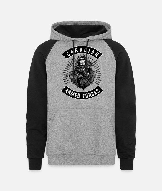 Canadian Soldier Hoodies & Sweatshirts - Armed Forces Reaper Canadian Military - Unisex Colorblock Hoodie heather gray/black