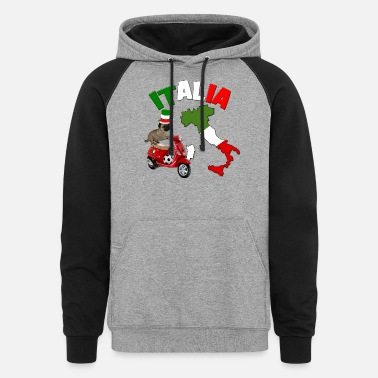 Italy Italy Football World Cup Pug Dog - Unisex Colorblock Hoodie
