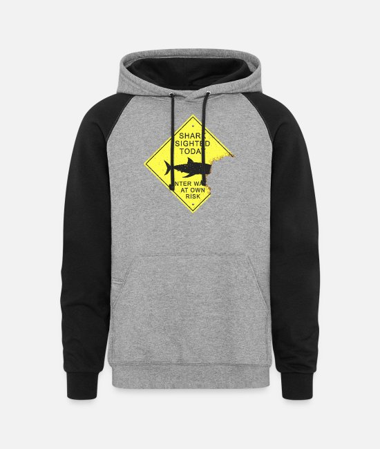 Surf Hoodies & Sweatshirts - Shark attack panel - Unisex Colorblock Hoodie heather gray/black