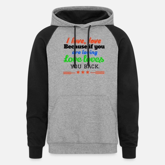 Sportscar Hoodies & Sweatshirts - I love,LOVE - Unisex Colorblock Hoodie heather gray/black