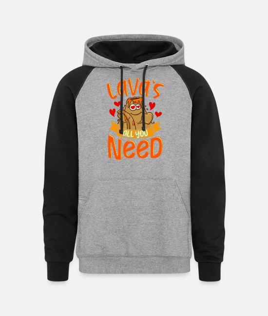 Volcano Hoodies & Sweatshirts - Cute & Funny Lavas All You Need Volcano Pun - Unisex Colorblock Hoodie heather gray/black