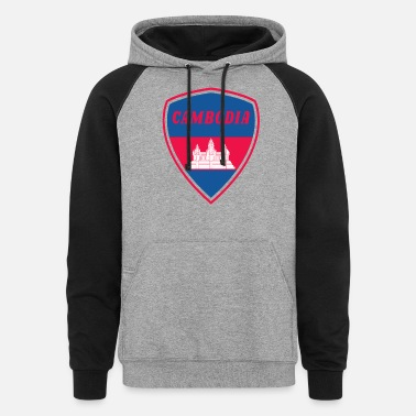 South East Asia Cambodia coat of arms Flag South east Asia Gift - Unisex Colorblock Hoodie