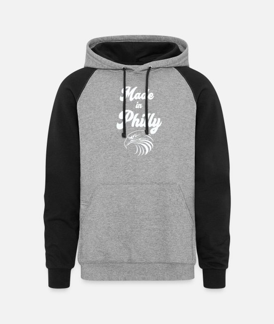 Philly Hoodies & Sweatshirts - Made In Philly Long Sleeve Shirt Eagle - Unisex Colorblock Hoodie heather gray/black