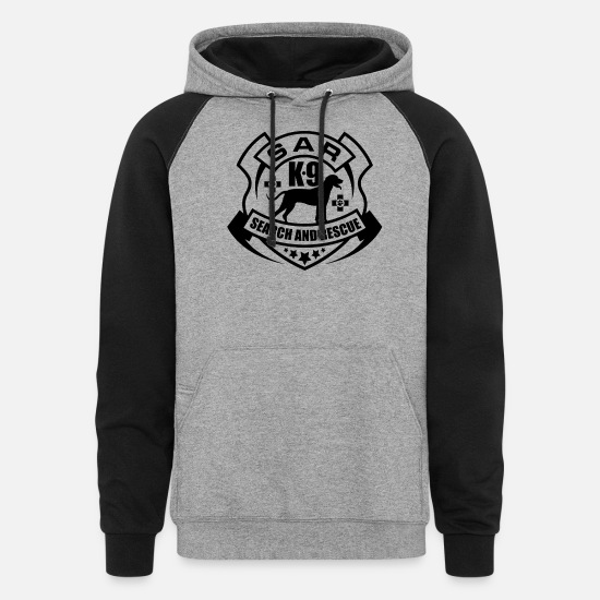 Dog Hoodies & Sweatshirts - K-9 Search and Rescue - Unisex Colorblock Hoodie heather gray/black