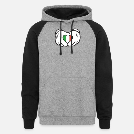 Italian Hoodies & Sweatshirts - italian heart hand - Unisex Colorblock Hoodie heather gray/black