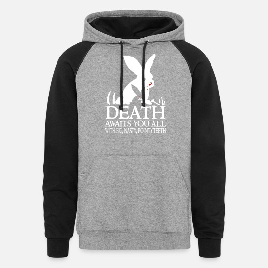 Rabbit Hoodies & Sweatshirts - Tim the Enchanter - Death awaits you all - Unisex Colorblock Hoodie heather gray/black