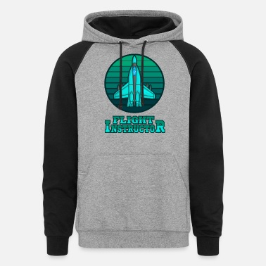 Aviation RETRO AIRPLANE Flight Instructor Gift For Pilot - Unisex Colorblock Hoodie