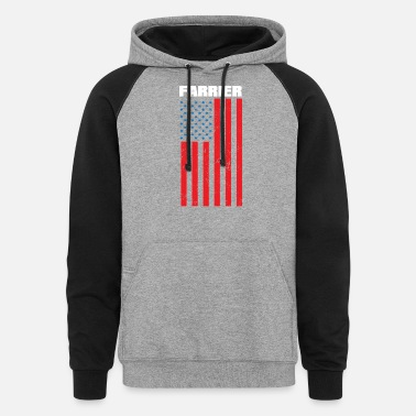 Quote Farrier Flag Star Horseshoe Hoof Trimming Equine - Unisex Colorblock Hoodie