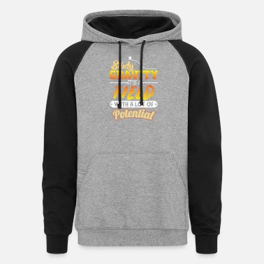 Math Teacher Study gravity its a field with a lot of Potential - Unisex Colorblock Hoodie