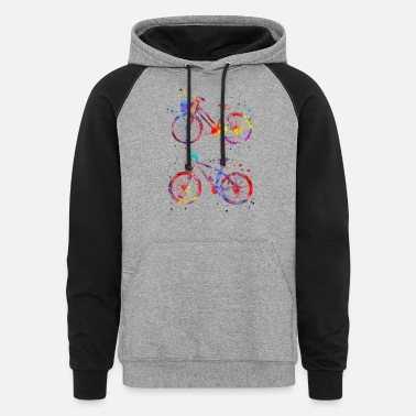 Bicycle Bicycles, watercolor bicycles - Unisex Colorblock Hoodie