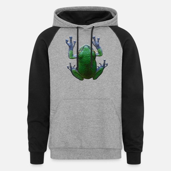 Snake Hoodies & Sweatshirts - Tree Frog Blue And Green - Unisex Colorblock Hoodie heather gray/black