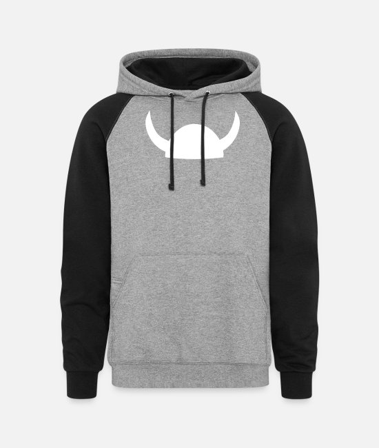 Viking Hoodies & Sweatshirts - Viking Helmet - Unisex Colorblock Hoodie heather gray/black