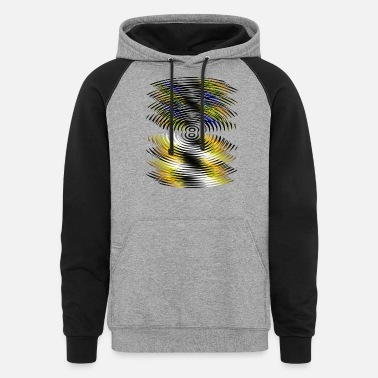 Yellow Black & blue & yellow lines - Unisex Colorblock Hoodie