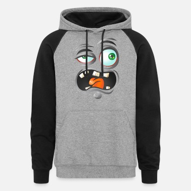 Ugly cartoon face - Unisex Colorblock Hoodie