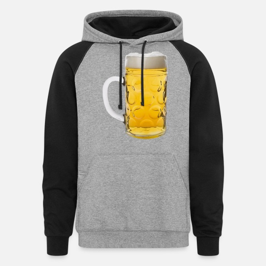 Alcohol Hoodies & Sweatshirts - Glass of lager 2 - Unisex Colorblock Hoodie heather gray/black