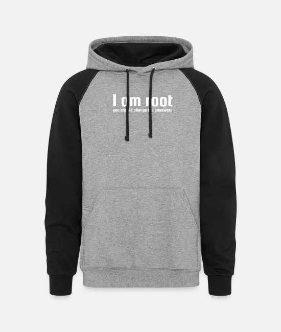 Program (what You Do) Hoodies & Sweatshirts - I am root you should change the password - Unisex Colorblock Hoodie heather gray/black
