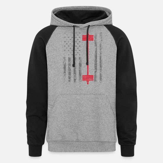 Gym Hoodies & Sweatshirts - Power Lift - American Power weight lifting - Unisex Colorblock Hoodie heather gray/black
