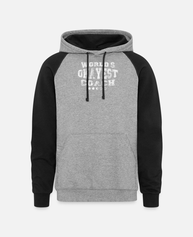 Tennis Hoodies & Sweatshirts - Okayest coach in the world - tees - Unisex Colorblock Hoodie heather gray/black