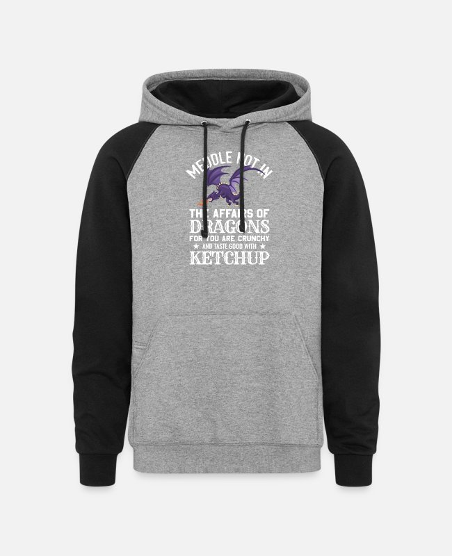 Dungeon And Dragons Hoodies & Sweatshirts - Meddle Not In The Affairs Of Dragons - Unisex Colorblock Hoodie heather gray/black