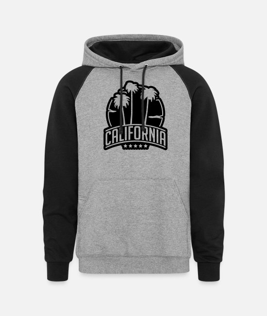Palm Trees Hoodies & Sweatshirts - california_palms_su1 - Unisex Colorblock Hoodie heather gray/black