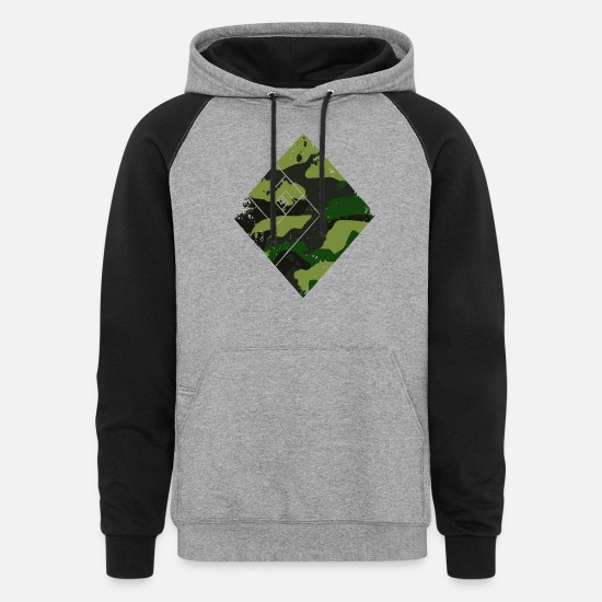 Quarter Hoodies & Sweatshirts - Square camouflage pattern green - Unisex Colorblock Hoodie heather gray/black