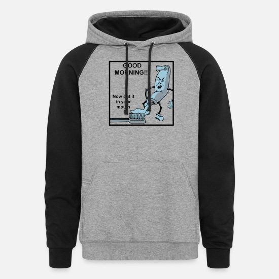 Funny Hoodies & Sweatshirts - Put It In Your Mouth - Unisex Colorblock Hoodie heather gray/black