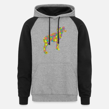 Goat With Flowers Mountain Goat Flower Shirt - Unisex Colorblock Hoodie