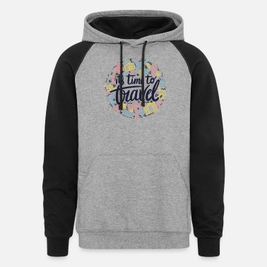 Travelling Time TO Travel - Unisex Colorblock Hoodie